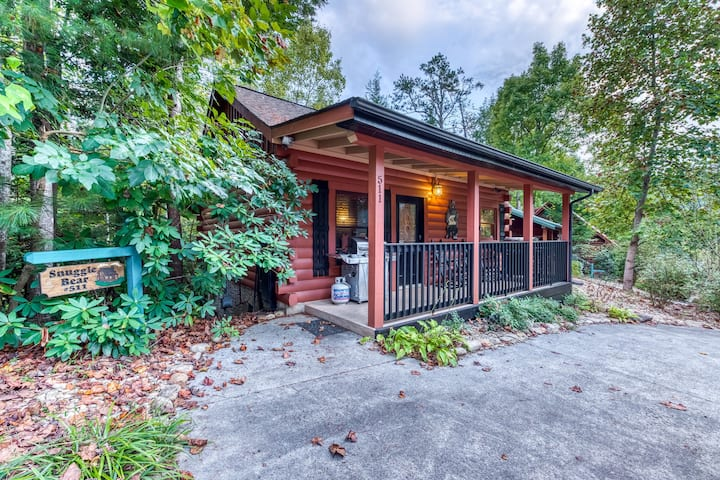 Elegant cabin w/ gas fireplace, private hot tub, & community pool