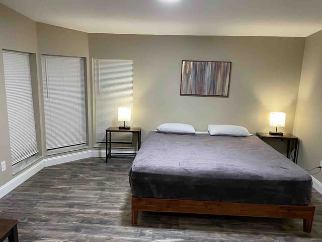 Room#1 Master bedroom king size bed with extra space for inflatable mattress (available at no cost), full bathroom