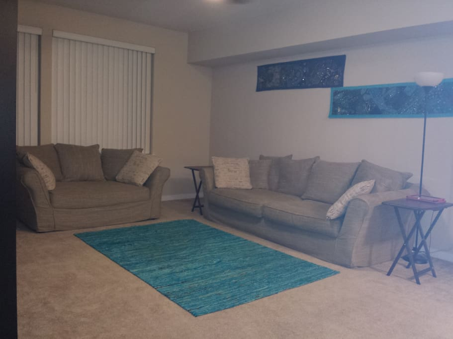 Spacious living room and oversized couch