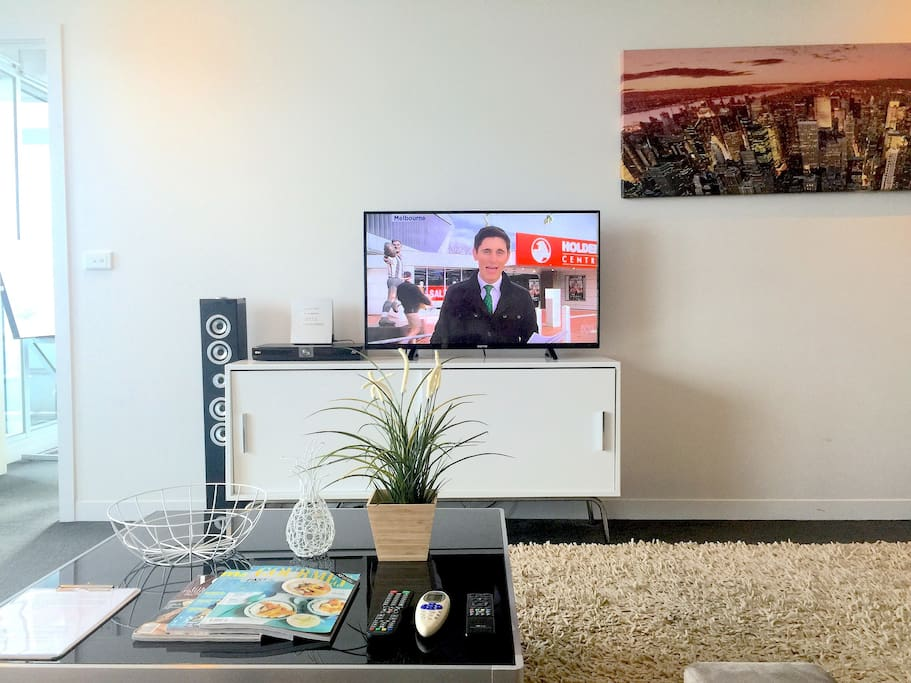 CABLE TV + LARGE LCD TV + BLUETOOTH IPHONE MUSIC SYSTEM