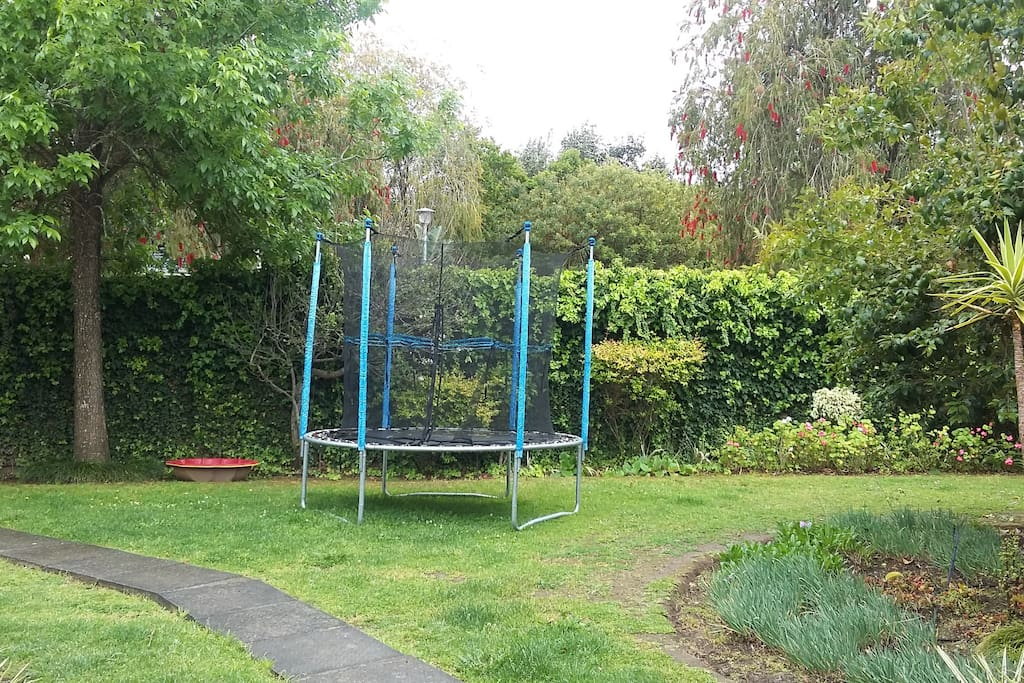 Outside garden and trampoline for kids
