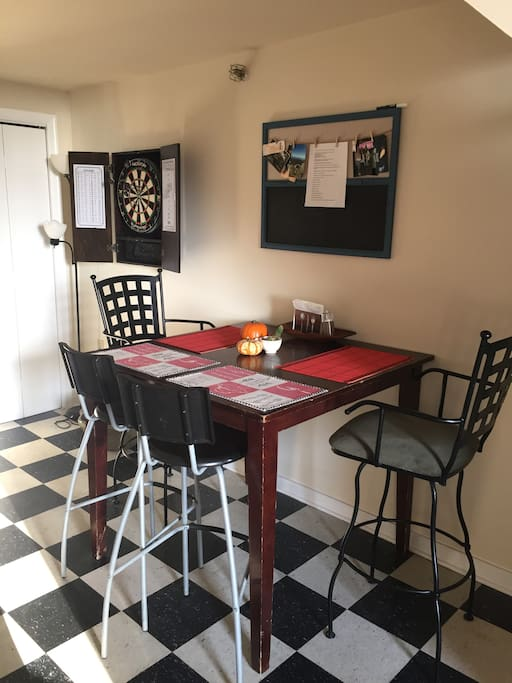 Dining table and dart board