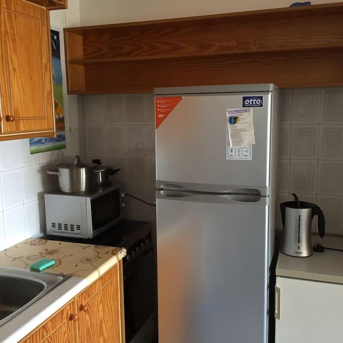 kitchen fridge, kettle microwave,