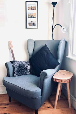 A comfy reading chair to unwind and relax!