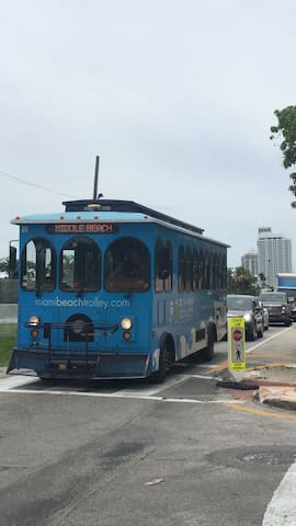Miami Beach Trolley stops in front of our building!