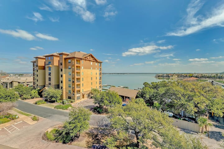 Stylish Corner Condo with Incredible Views of Lake LBJ with large outdoor patio