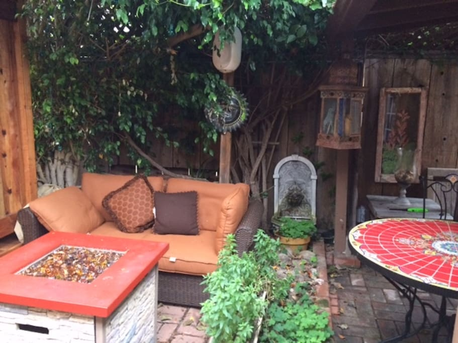 Private Courtyard with sofa and fire pit