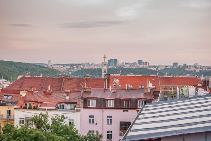 Lovely sunny attic apartment in the quiet area - Prague - Loft