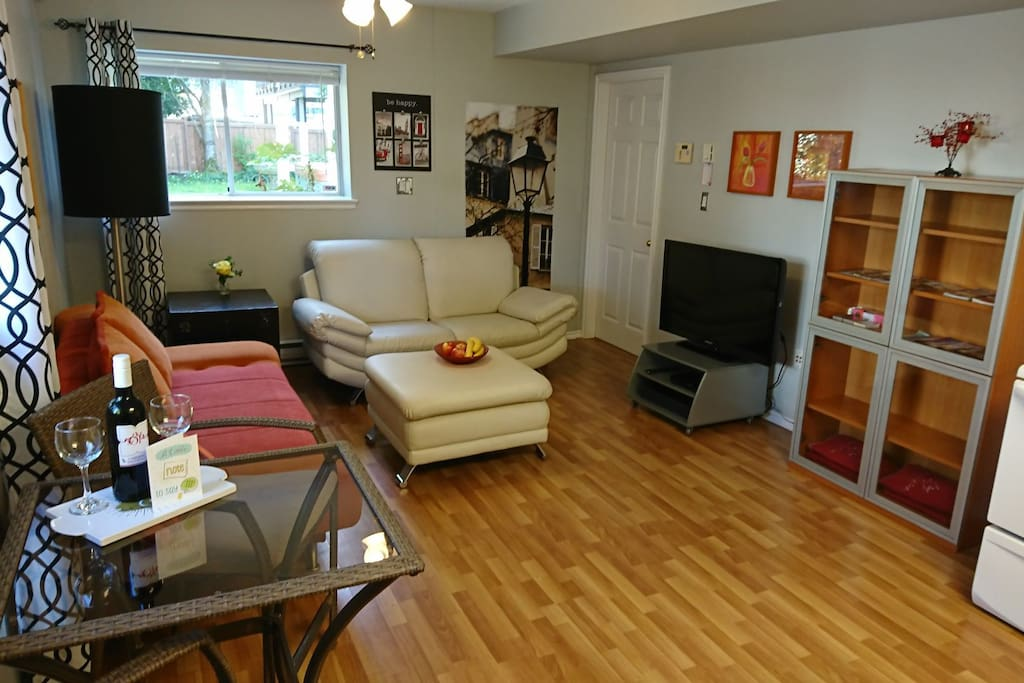 Living room with plenty of storage for all your travel needs