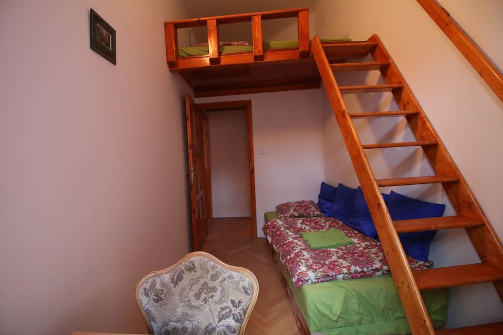 your private lockable bedroom fitted for 3 persons, wardrobe and  writing desk