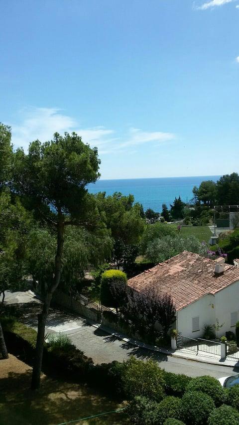 in front of the beach in Sant Pol de Mar Village