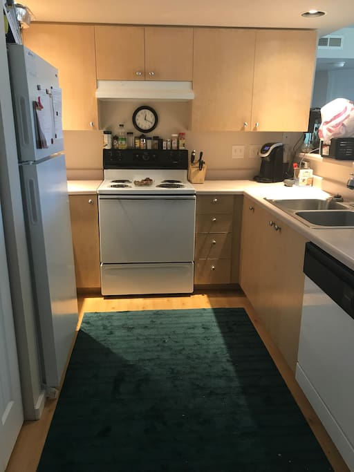 Shared kitchen with space for guests food. Guest are welcome to cook.