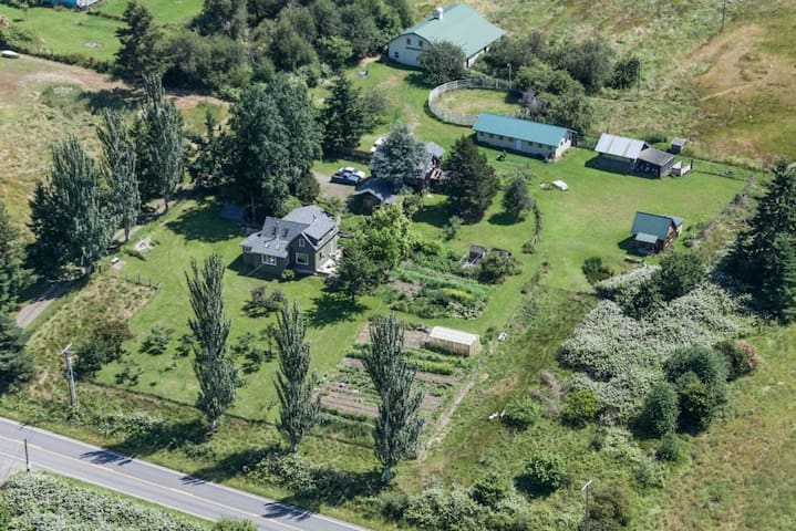 Arial of the farm... cabin is green roof, far right.