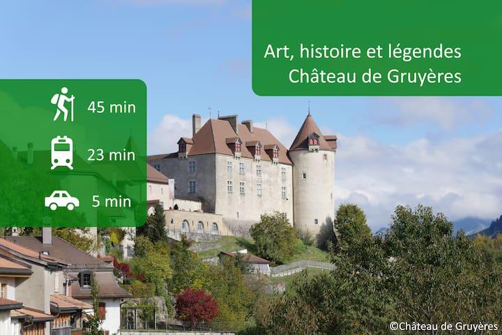 Le château de Gruyère siège au centre de notre vue panoramique. A un jet de pierre de notre Airbnb, plongez dans le moyen âge. Profitez d'une super ballade entre forêt et rivière pour atteindre la ville médiévale.