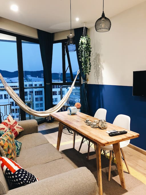 living room with hammock