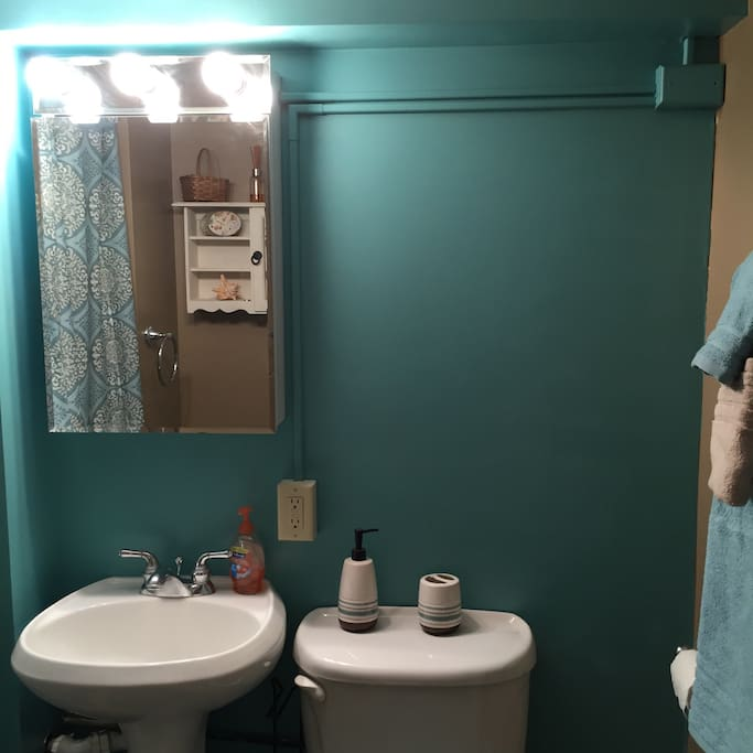 Private bathroom is bright and clean equipped with shower.