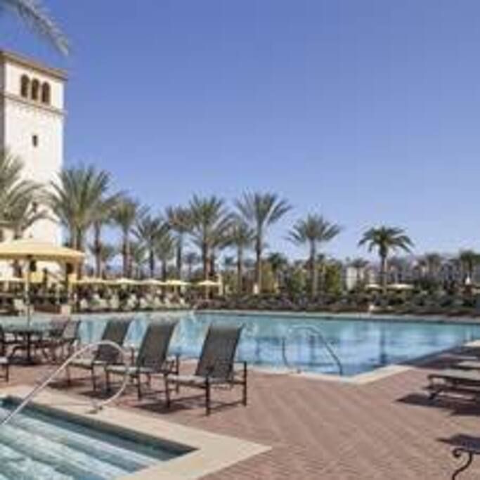 One of the 3 pools is featured here. There are also 4 hot tubs and several cabanas.