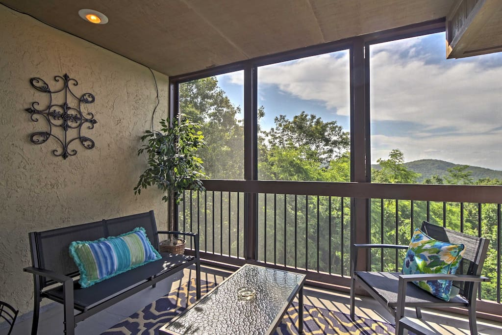 You'll love relaxing in the screened-in porch as you watch the sun set over the Smoky Mountains.