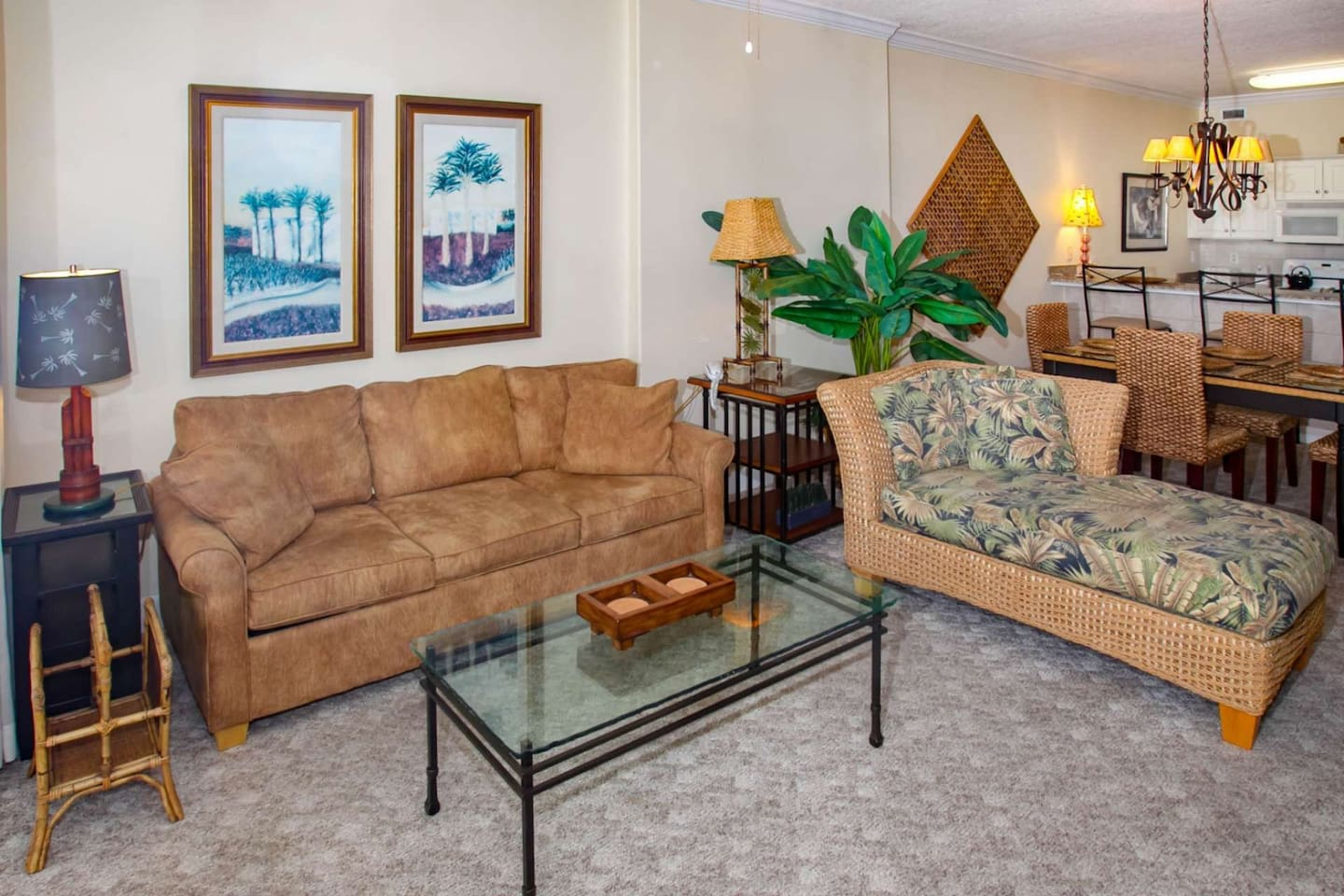 Carpeted living room w/sofa and chaise