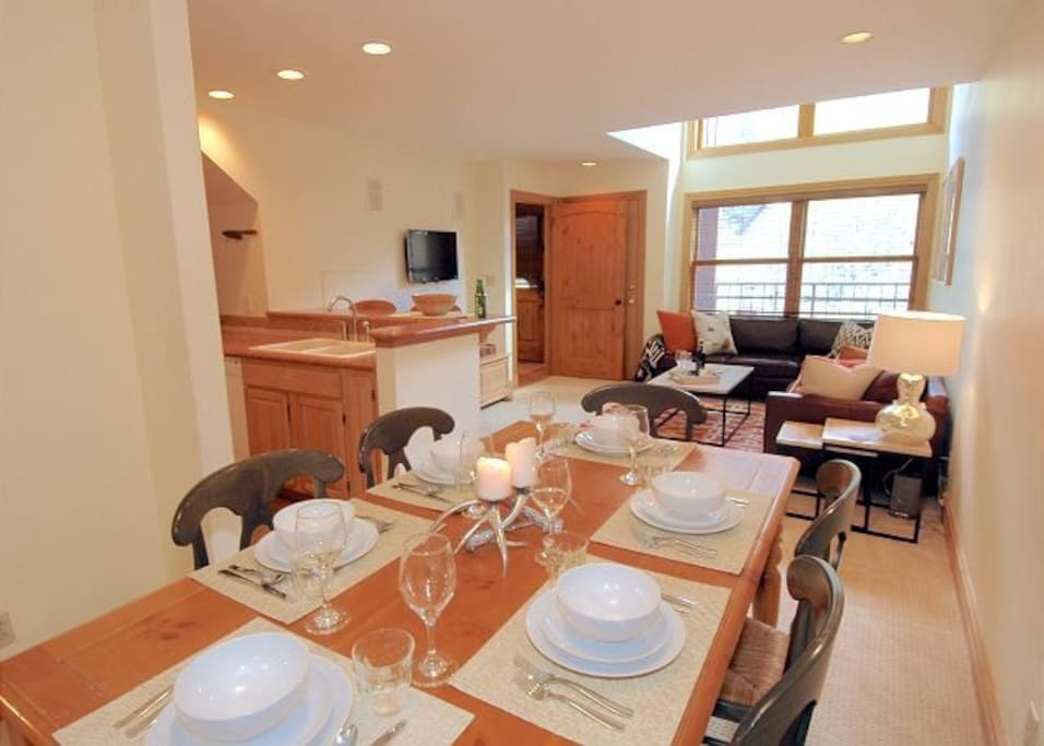A full kitchen and dining room for great meals during your stay in Telluride