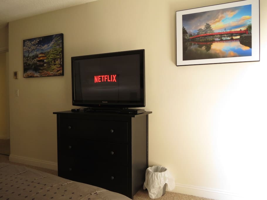 "42"" TV with Roku and Blu-Ray/DVD + dresser"