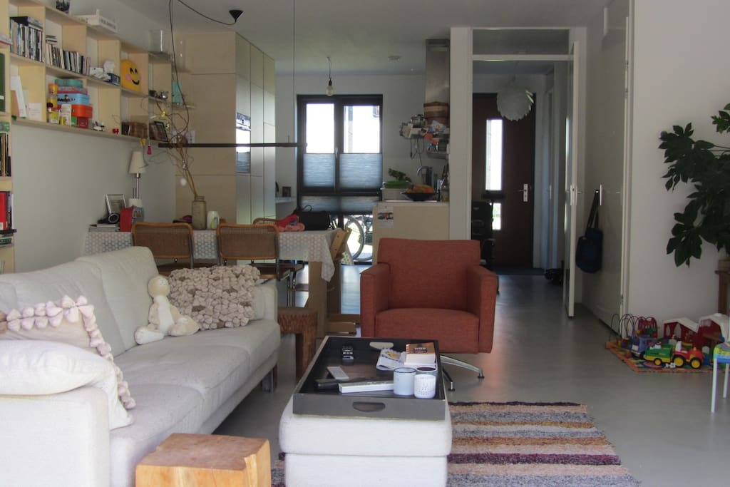 Living room, kitchen and hall.