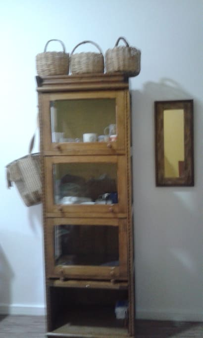cabinet with dishes