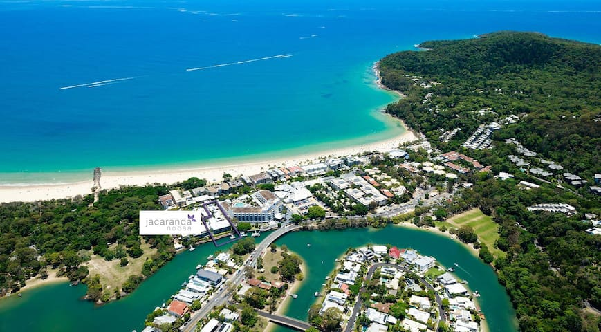 Aerial view of Jacaranda Noosa, Hastings st, Laguna Bay - main beach and the Noosa River