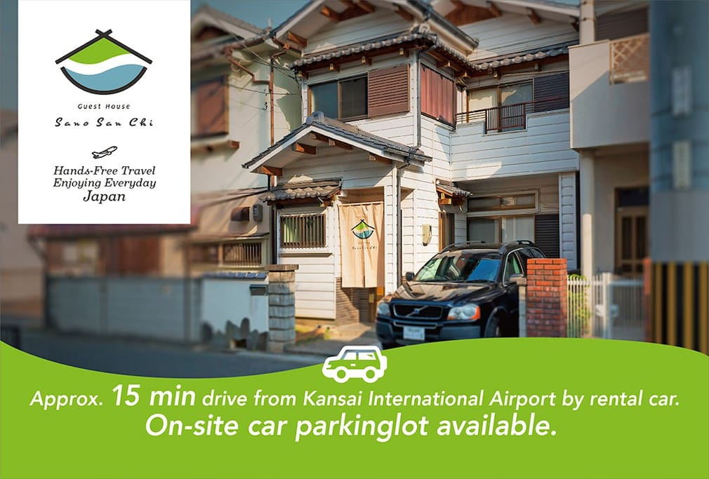 Approx. 15 minutes' drive from Kansai International Airport by rental car.  On-site car parking lot available.