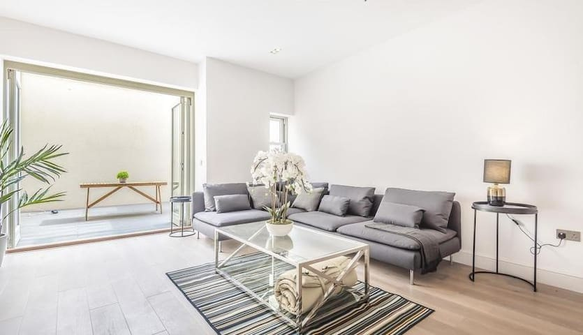 Large living room with private terrace
