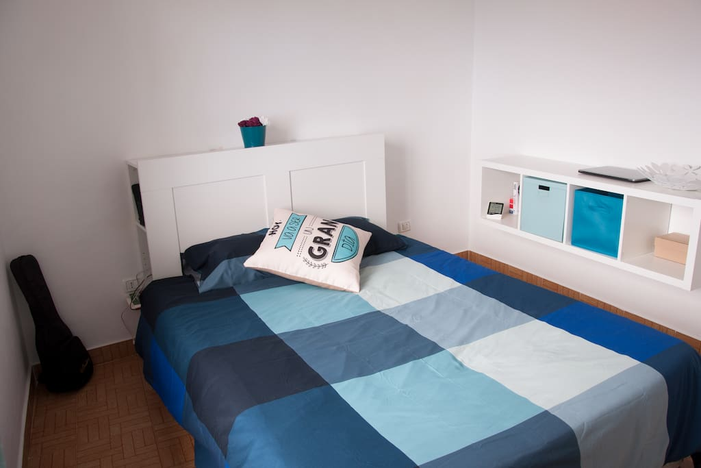 Double bed (150 cm), shelving for your things, station for charging devices