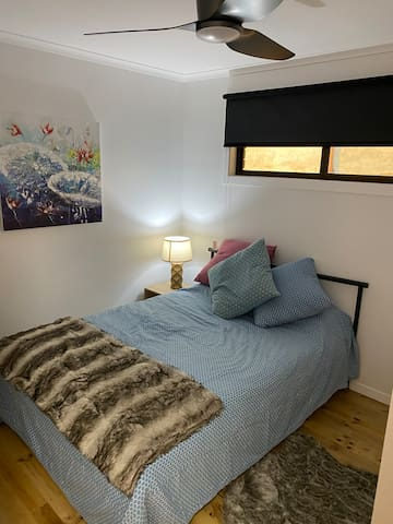 Bedroom Two with double bed and built in wardrobes