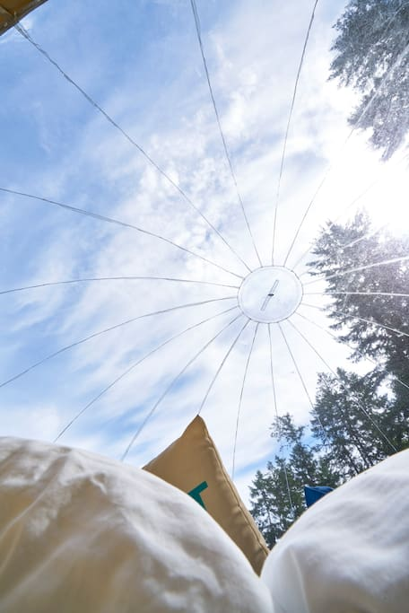 Looking up through top of Tent