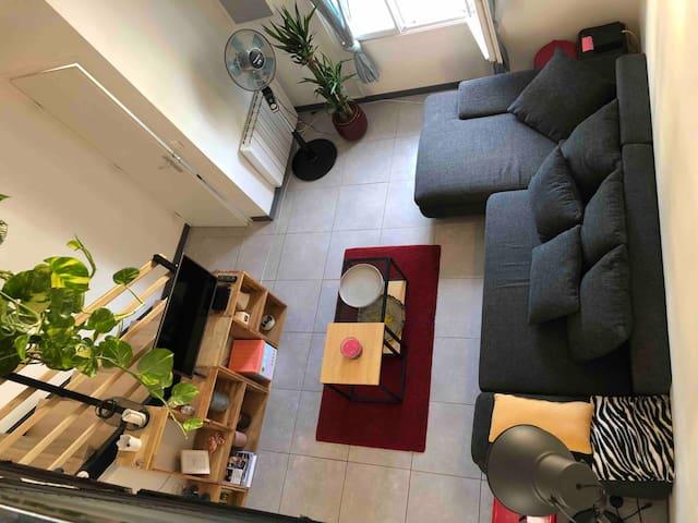 Duplex mezzanine, jardin et garage
