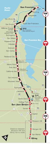 Cal Train Stops from SF to SJ