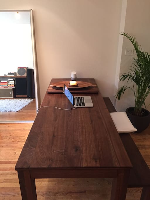 Beautiful (and new) solid walnut dining table.