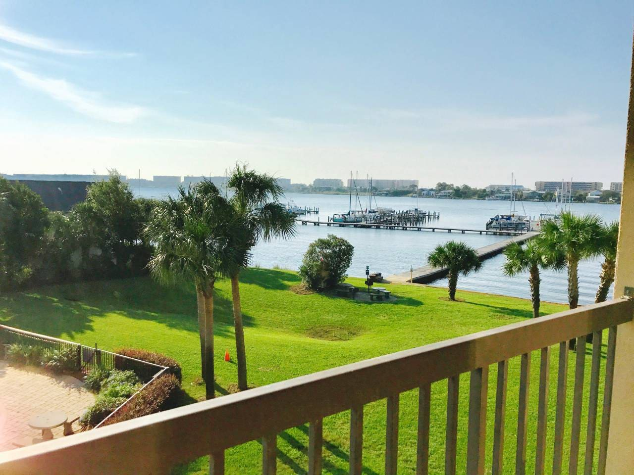 Relax on the tranquil balcony overlooking the beautiful Santa Rosa Sound
