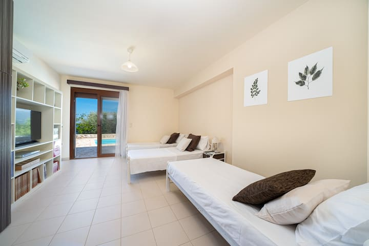 lower pool level bedroom with 3 single beds