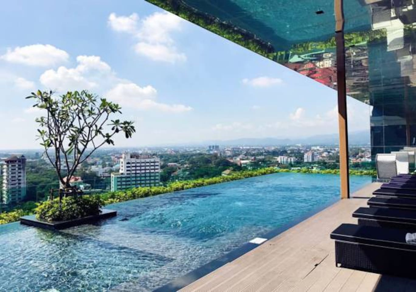 Roof top swimming pool with amazing view of the city