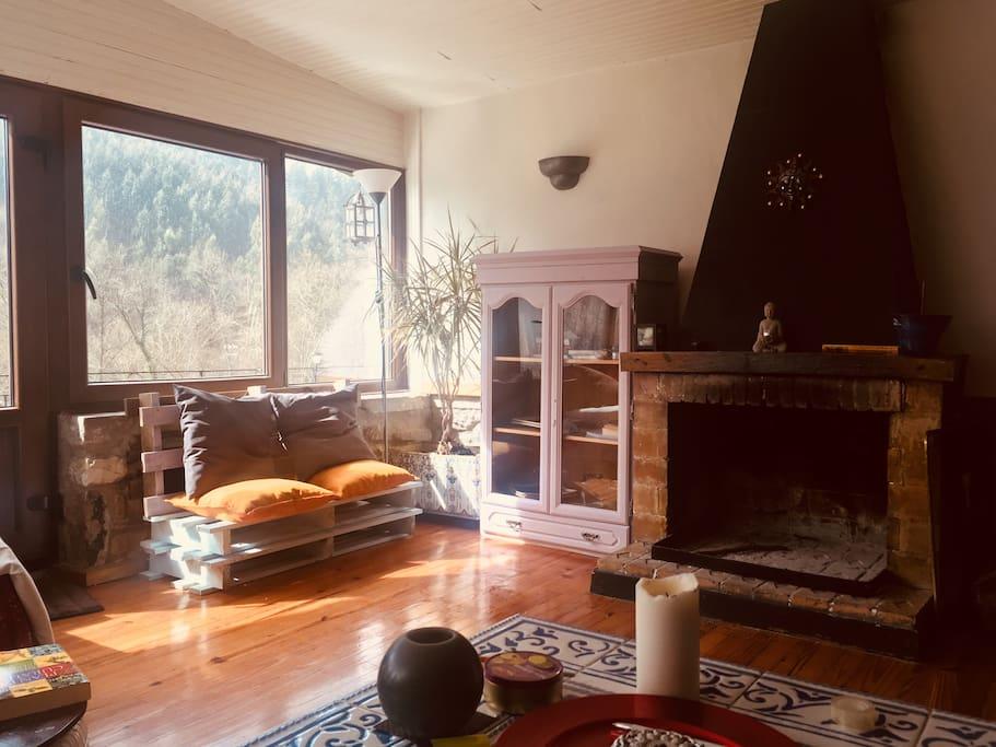 Salón con chimenea y salida a terraza , zona común