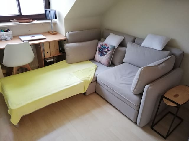 Sofabed unfolded (small single bed 80 cm)