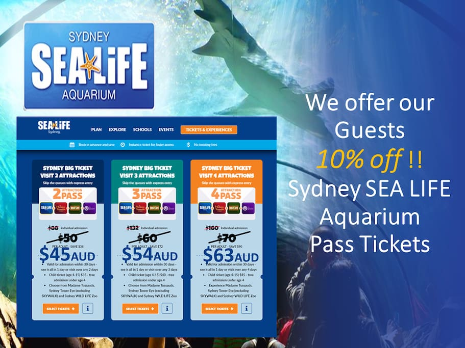 Our guests can get a exclusive 10% off discount on sea life pass tickets!