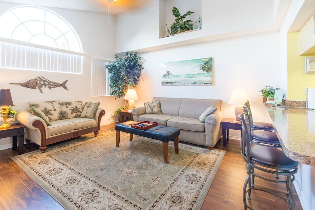 Large living room with queen size sofa bed