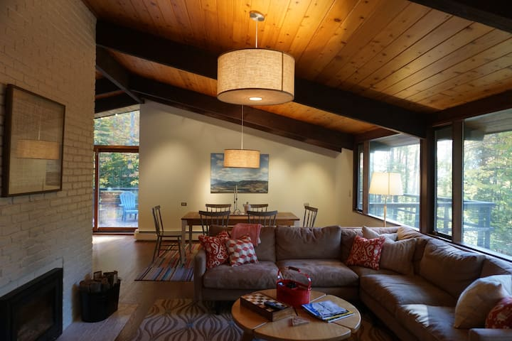 Open, comfortable Living Room with Log-burning Fireplace Insert (close the door and leave the fire without worry)