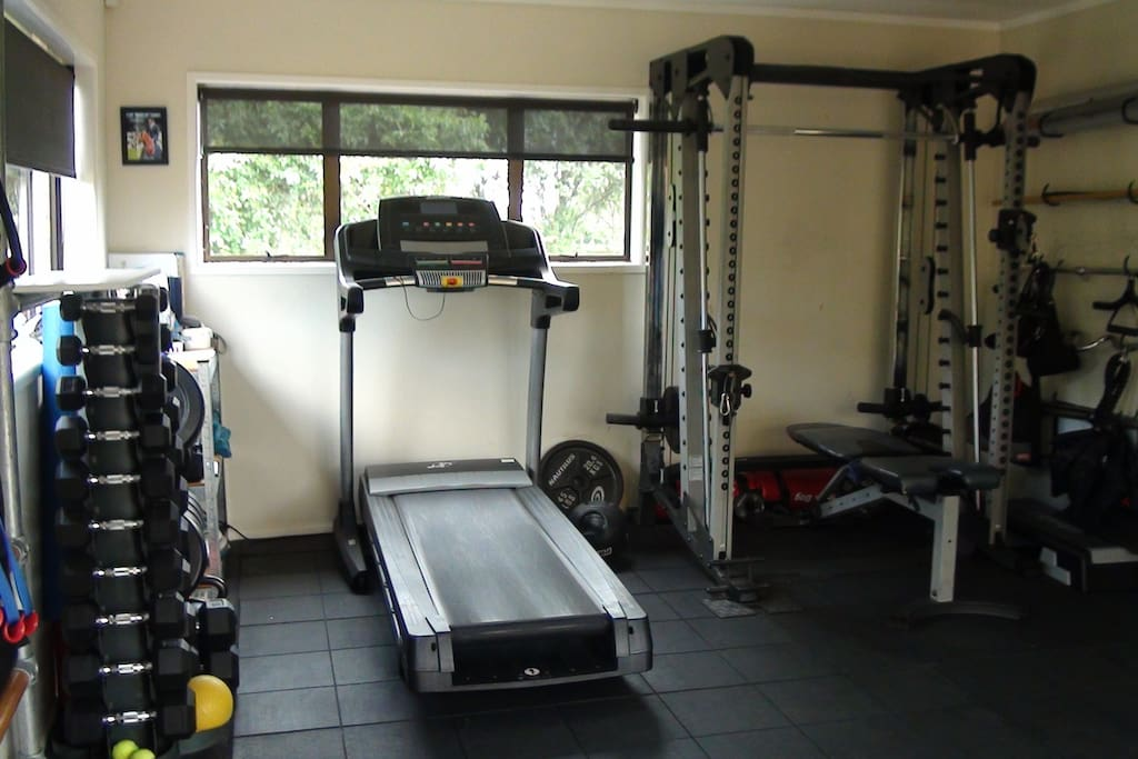 Commercial gym available and personal training. Bookings required.
