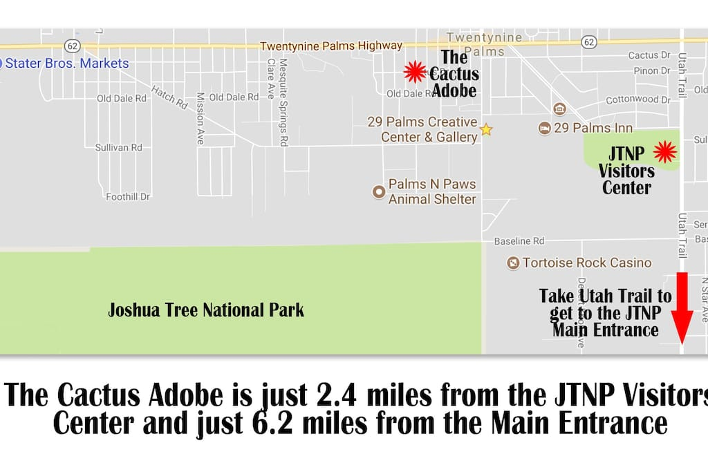 Ideal location for visiting JTNP. The Cactus Adobe is just minutes away from the Visitors Center, the Main Entrance to the Park plus shopping and gas services are just minutes away as well.