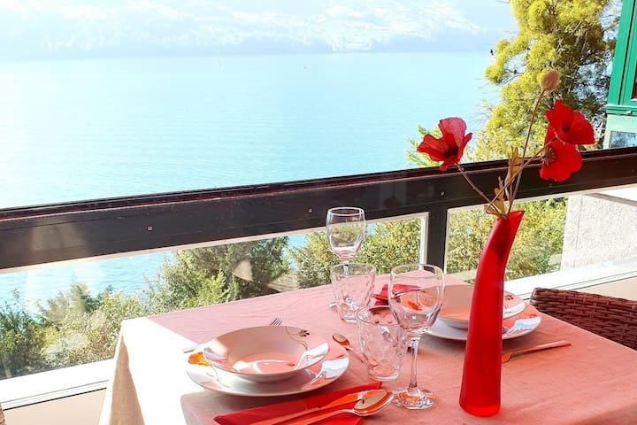 Gemütliches Apartment direkt am See mit Bergsicht