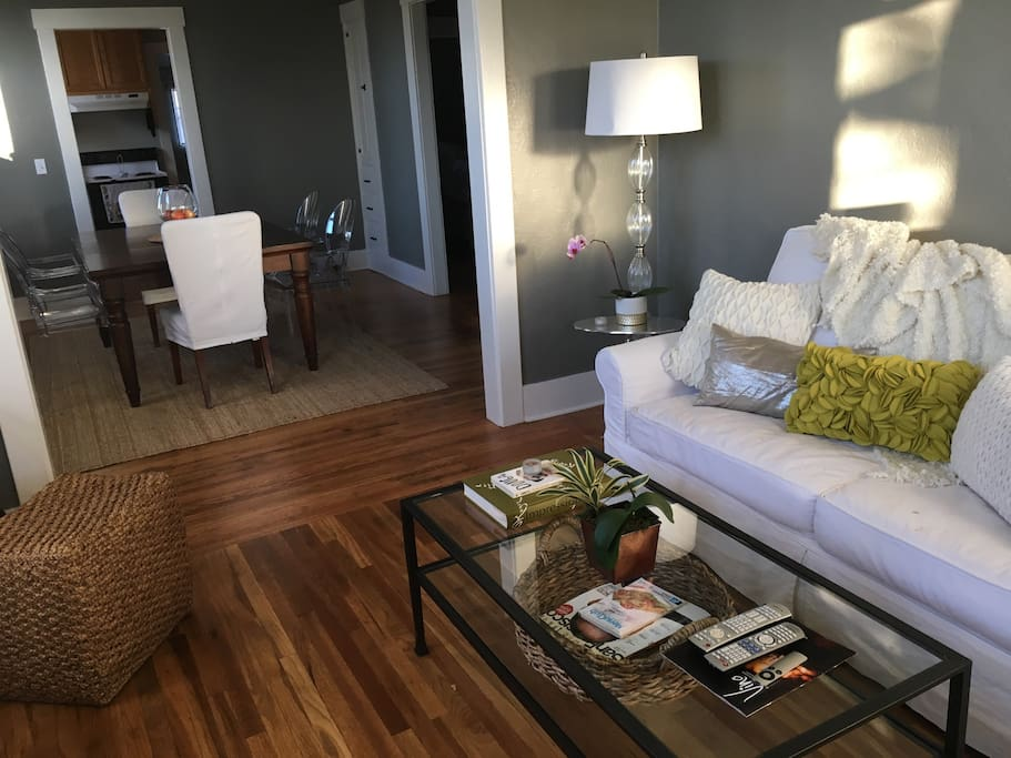 Comfy living room with television, DVD player and AppleTV (Hulu, Netlflix, etc)
