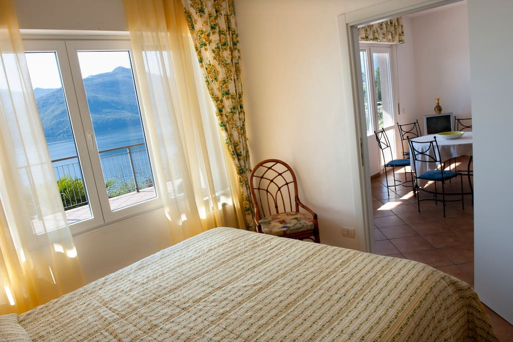 The double bedroom has lake views
