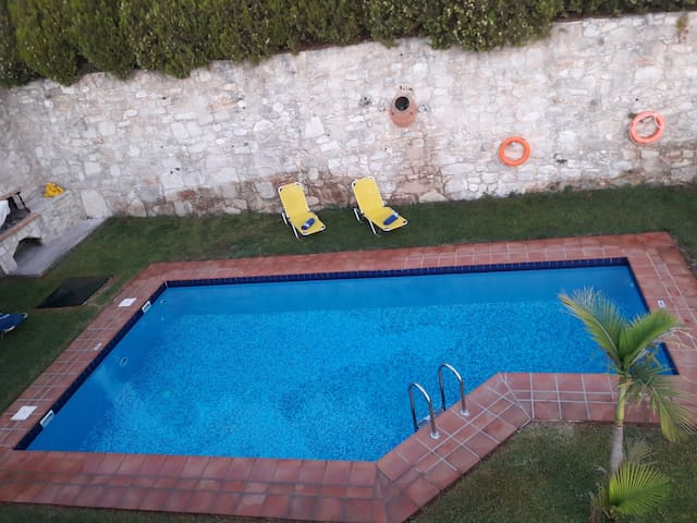 The view of pool from the balcony.